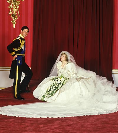InStyle.com Lady Diana Spencer: Yes, her puff-sleeved, ruffled, silk taffeta gown—decorated with lace, embroidery, sequins, and around 10,000 tiny pearls—wasn't exactly understated. But then neither was anything else about Diana's royal wedding to Prince Charles in 1981.