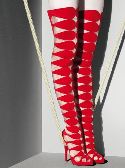 Christian Louboutin red over the Knee boots