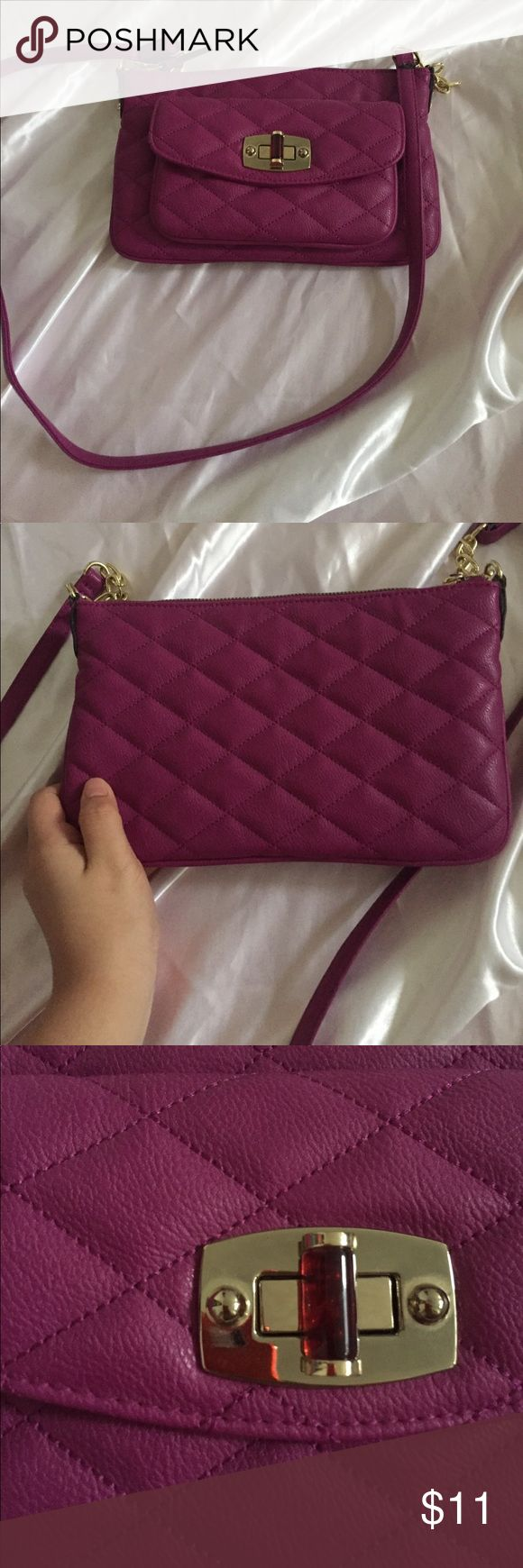 """Purple clutch purse Pretty purple clutch like crossbody bag 💜💜💜 Bought a year ago but never actually wore it. Quilt looking texture Measurements: 10"""" across , 6"""" length , straps 23"""" from base Merona Bags Crossbody Bags"""