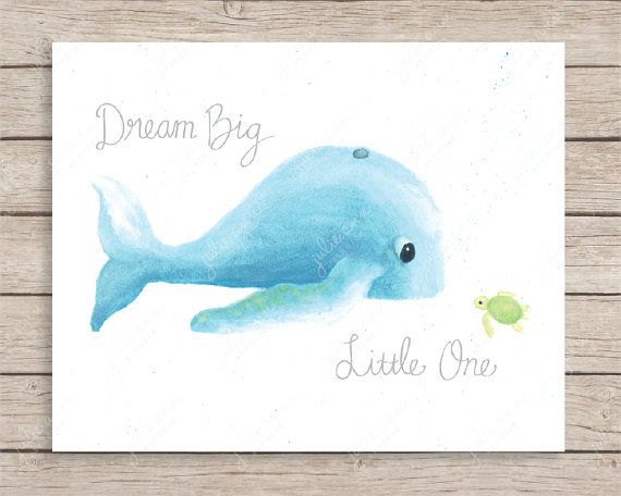 """PURCHASED, Dream Big Little One Whale and Turtle Art- Archival print of my original watercolor painting with digital hand-lettered text.  Available in 5x7, 8x10, and 11x14in. Select either """"Dream Big Little One"""" or """"hello friend"""" from the drop-down menu.  More Ocean Art Prints: www.etsy.com/shop/JulieAnnStudios?section_id=14905270&ref=shopsection_leftnav_4  Comes packaged with chipboard backing in a cello bag and rigid mailer. Ready for framing.   Back to Julie Ann Studios Shop: ..."""