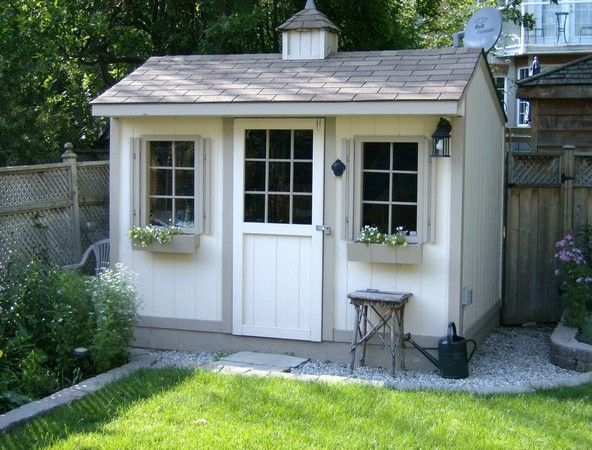 Duroshed - 8 feet x 10 feet shed, cupola, single windows with window planter boxes, barn style door with window, white with grey trim.