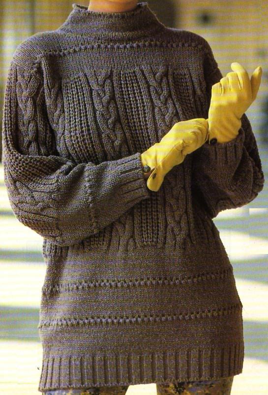 Un grand pull en laine sèche et maille relief à porter sans se lasser : Tailles : unique Aiguilles N° 3,5, 4 et 5 Le pull flamboyant à torsades Le pull tilleul à côtes
