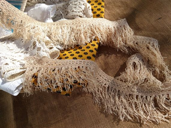 www.sophieladydeparis.etsy.com Gorgeous beige fringed braid, unused, new old stock. French haberdashery. Cotton made.  Antique French from 1930's. Length 2 yards Width 3 in... #buttons #victorian #frenchlinen #sophieladydeparis #passementerie #fringe