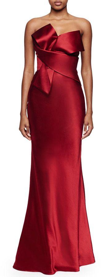 Alexander McQueen Origami Strapless Gown, Deep Red