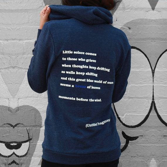 House of Leaves SOLACE Blue Zip-Up Hoodie Mark Z. by YarnPlusInk
