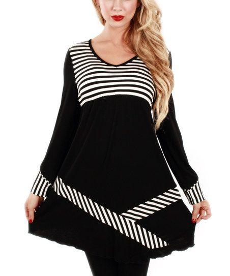 Jasmine Black & White Stripe V-Neck Tunic   zulily