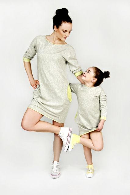 Set of two comfortable cotton tunics with double-sided. Loose but stylish, great as a dress or in pair with leggins and jeggins!