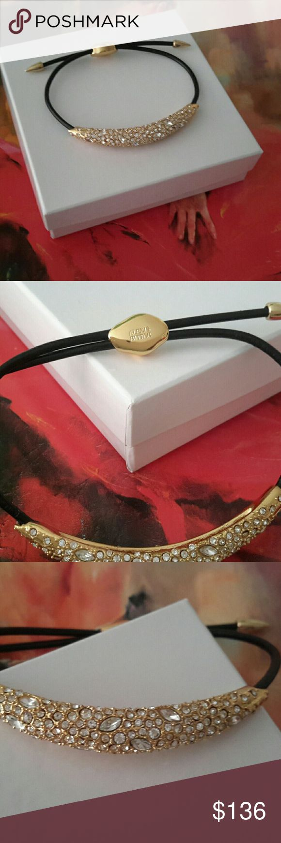 Alexis Bittar Encrusted Bracelet Adjustable black leather band with gold details and beautiful jeweled cap. Awesome! Last and lowest! have the bag! Alexis Bittar Jewelry Bracelets