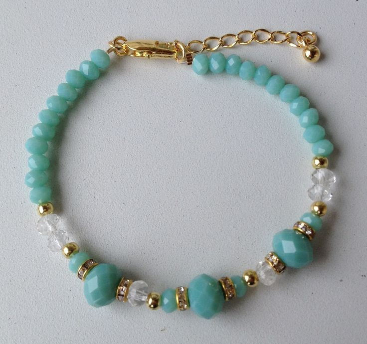 turquoise chinese crystal bracelet pulseira de cristal chines turquesa                                                                                                                                                                                 Más