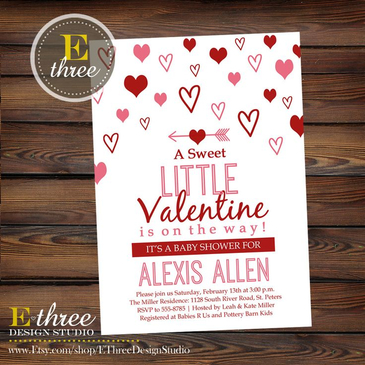 Valentine's Day baby shower invitation - red and pink shower invite from E-Three Design Studio