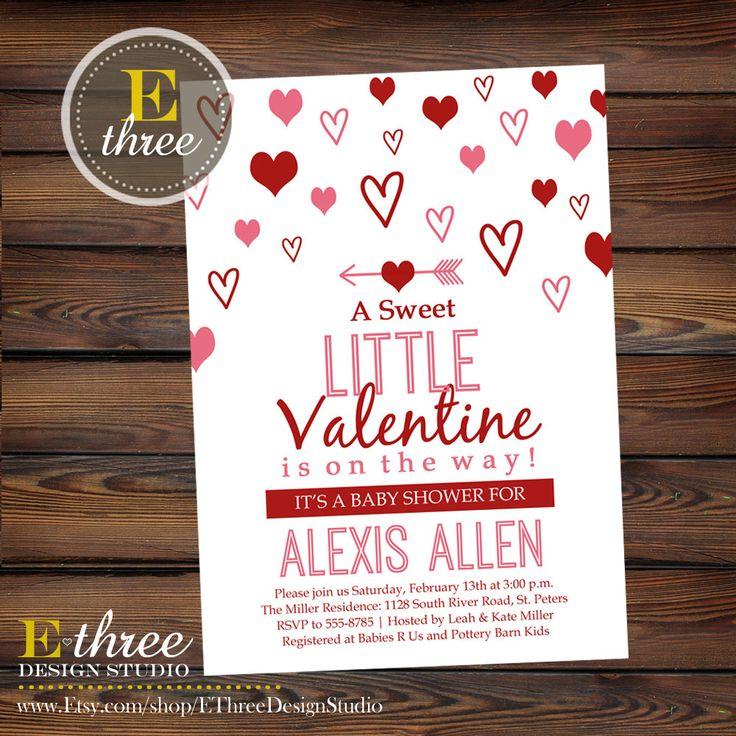 Valentine's Day baby shower invitation - red and pink shower invite from E-Three Design Studio