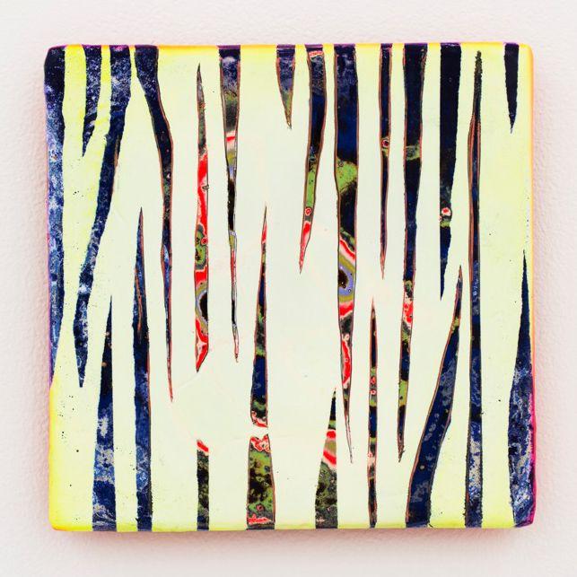 "Akiyoshi Mishima ""Not such issue, 001″, 2013 Lackspray, ceramic 20 x 20 x 1,5 cm"