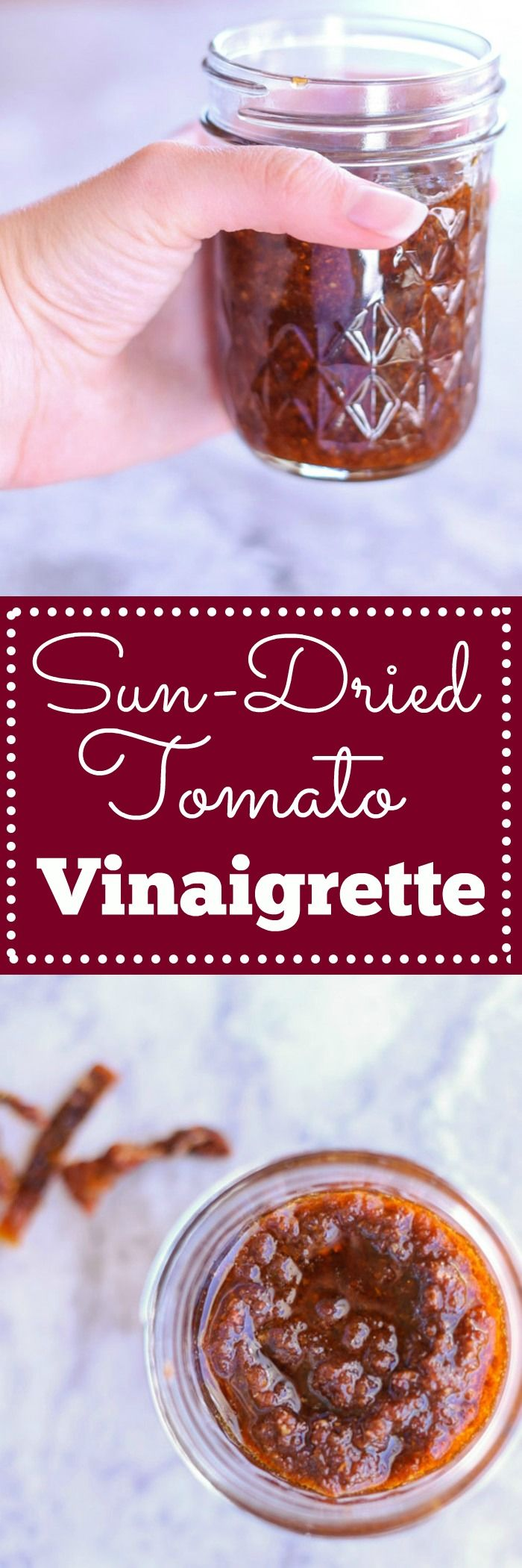 Sun Dried Tomato Vinaigrette - All you need is 5 ingredients and 5 minutes to get this delicious dressing for salad, roasted vegetables, meat or anything else you can think to put it on. Trust me, you'll want to put it on everything! | louloubiscuit.com