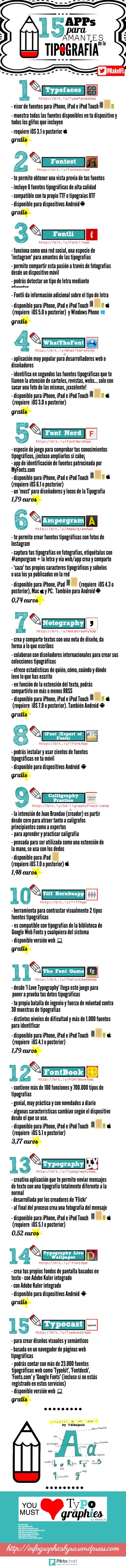15 APPs para los amantes de la #tipografía #diseñografico #infografia