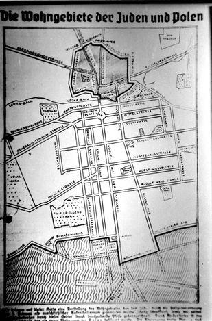 Lodz Ghetto, Poland, A German map of the ghetto.
