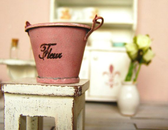 Dollhouse miniature bucket french style  12th by DewdropMinis
