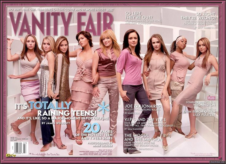 Vanity Fair 2003 - Raining Teens Issue. Amanda Bynes, Ashley Olsen, Mary Kate Olsen, Mandy Moore, Hilary Duff, Alexis Bledel, Evan Rachel Wood, Raven and Lindsay Lohan: Evans Rachel Wood, July 2003, Mandy Moore, Vanities Fair, Alexis Bledel, Amanda Bynes, Ashley Olsen, Group Poses, Olsen Twin