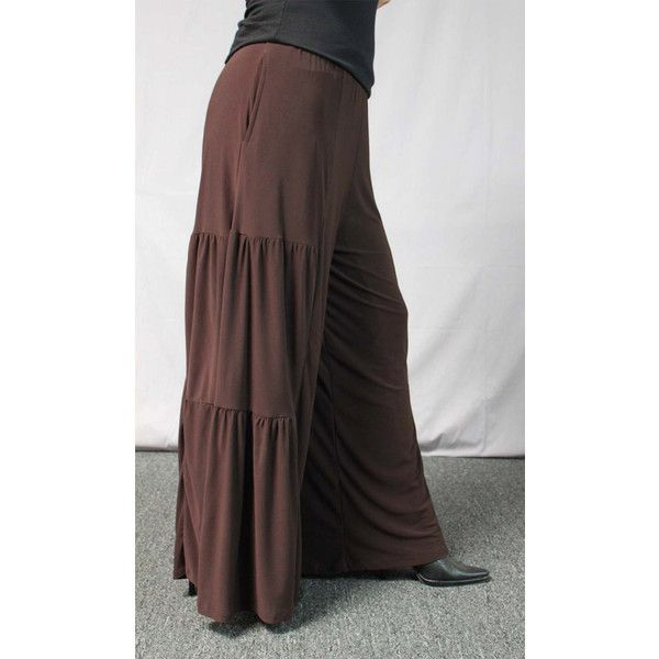 Comfy Plus Pants, Brown Pants, Tiered Pants, Plus Size Pants,... (2,560 INR) ❤ liked on Polyvore featuring pants, womens plus pants, plus size palazzo pants, womens plus size pants, plus size pants and brown palazzo pants
