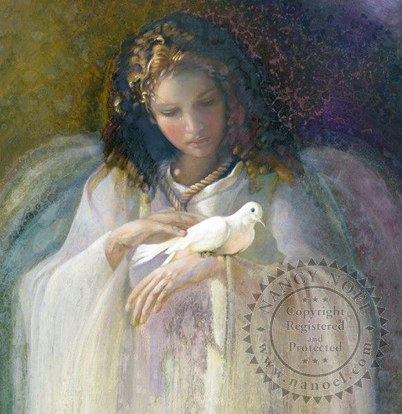 Portrait of Angel w/Dove by Nancy Noel