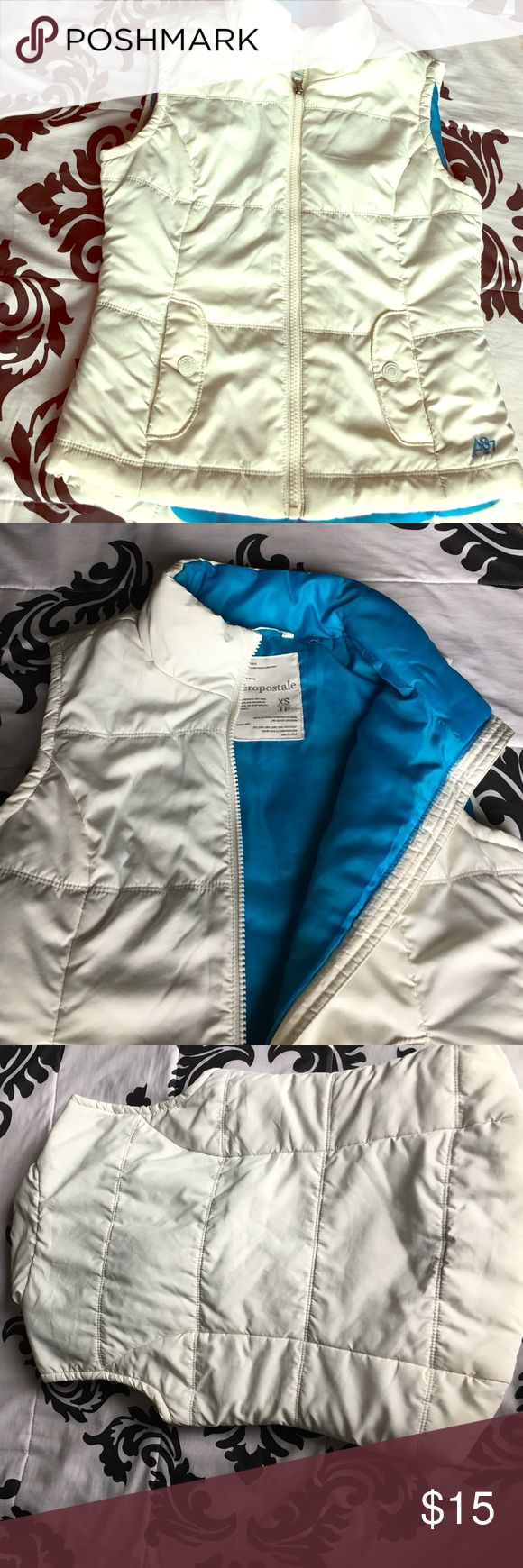 Aeropostale white and blue vest White blue worn once good condidtion fits well Aeropostale Jackets & Coats Vests