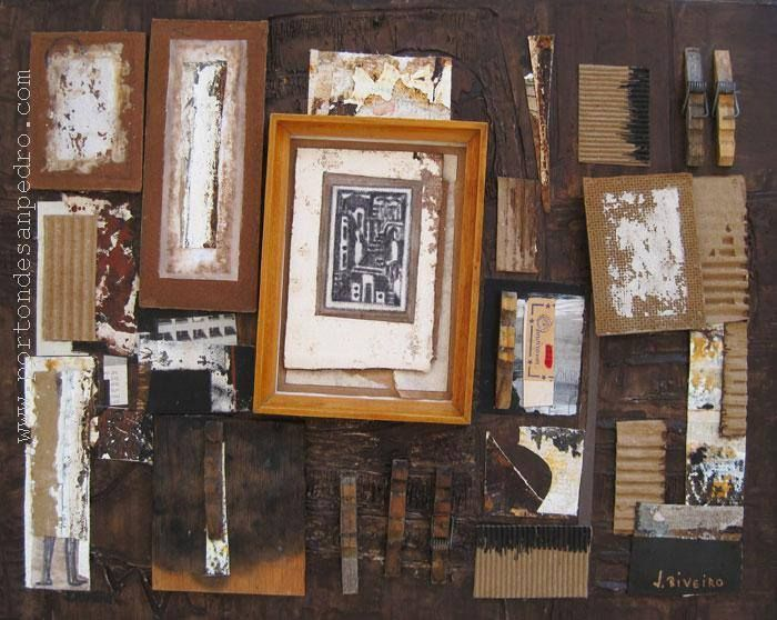 "Jaime Riveiro  ""Noche Toledana"" Técnica mixta y collage sobre tela 40 X 50 cms.  http://www.portondesanpedro.com/ver-producto.php?id=10894"