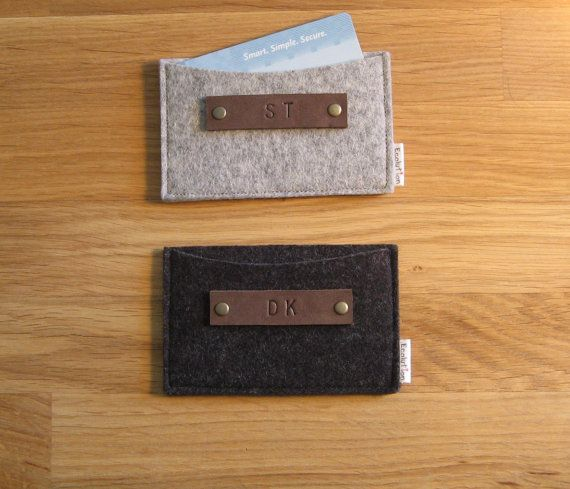 Gift set of 2 Monogrammed Business Card Holder-Wallet- Eco Friendly - Charcoal- Silver Grey- Handmade- Great Gift for men