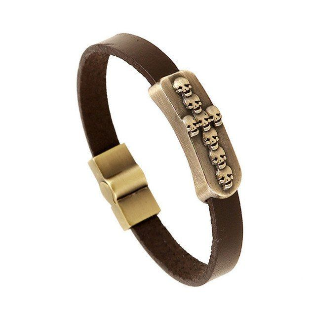Brown Genuine Leather Bracelet With Skulls in Cross