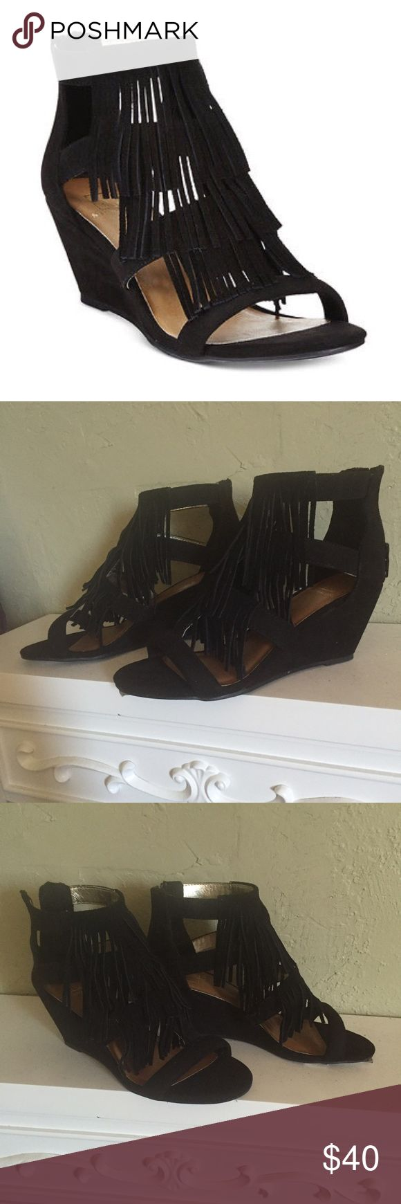 Material Girl Black Fringe Low Wedges Size 5 Wedge Awesome low wedge heel Fringe shoes By Madonna's Material Girl from Macy's. New in box. Only tried on. I'm usually a 5.5-6, these fit but are slightly snug. True to size 5. Flawless! Wish I could keep! Material Girl Shoes Wedges