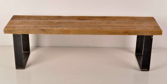 """*Hallway *Can get custom size 54""""l x 16""""d x 16""""t $399  Reclaimed Barn Wood and Industrial Metal Bench by DohlerDesigns"""