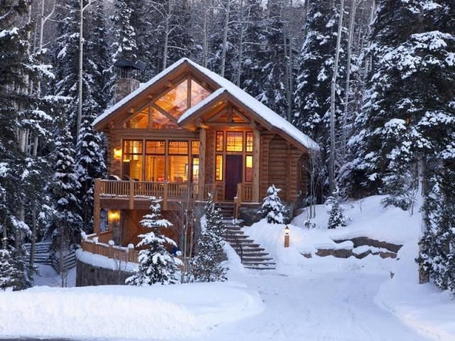 SEASONAL – WINTER – a cabin in the forest surrounded by snow in telluride, colorado, photo via dawn.