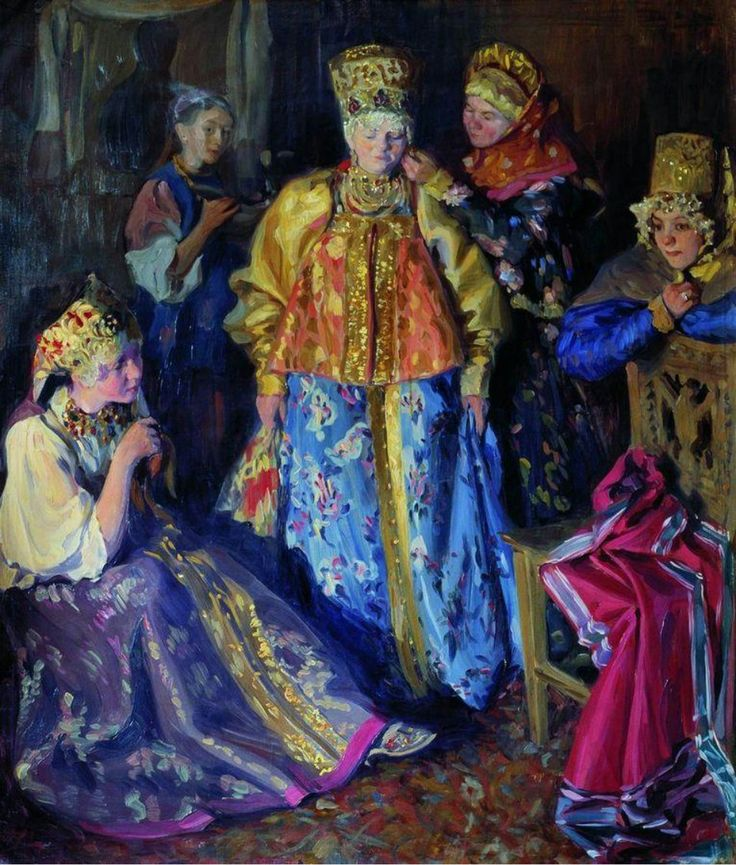 Russian costume in painting. I.S.Kulikov. Dressing a Bride. 1907. #art #painting #Russia #Russian