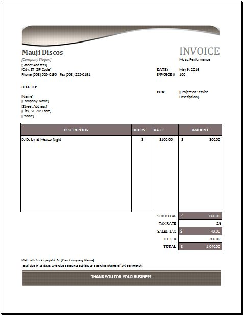 Music performance invoice DOWNLOAD at http://www.excelinvoicetemplates.com/music-performance-invoice/