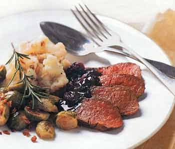 Pan-Seared Venison with Rosemary and Dried Cherries - I have made this a few times and it is just wonderful.