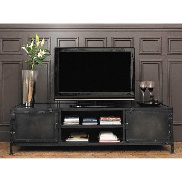zwart metalen industrieel tv meubel in 2019 woonkamer. Black Bedroom Furniture Sets. Home Design Ideas
