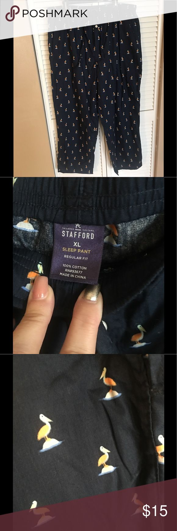 Just In ✨ Men's Stafford Pajama Pants Men's Pajama Pants 👖Navy Blue, Drawstring, XL, 100% Cotton. Purchased the wrong size for my son. NWOT ✨ Bundle and Save ✨ Reasonable Offers Welcomed Stafford Pants