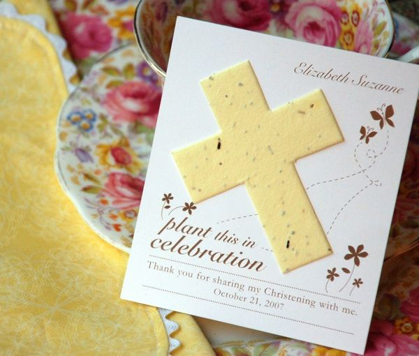 Cross plantable cross favors card with  wild flower seeds