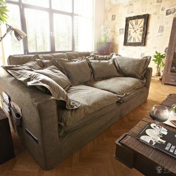 Braun Couch Hussensofa mit Kissen