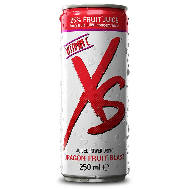 XS Juiced Power Drink is a great tasting, low-calorie, soft drink that contains 25% fruit juice from fruit juice concentrates, vitamin C, B-vitamins, caffeine, and taurine.