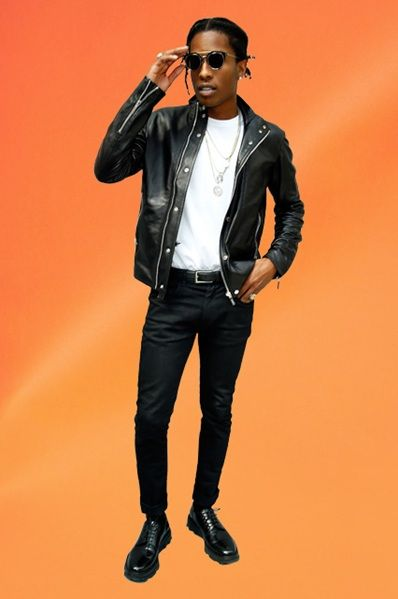 asap rocky in leather jacket and white t-shirt