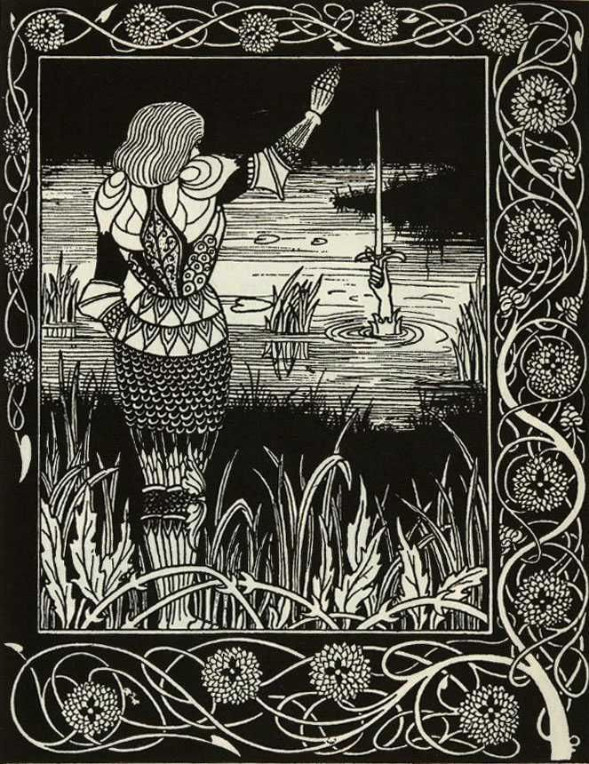 Aubrey Beardsley - How Sir Bedivere Cast the Sword Excalibur into the Water, by Aubrey Beardsley (1894) via Wikipedia