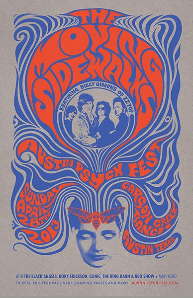 Mishka Westell's poster for the Austin Psych Fest, #psychedelic #poster #infographic