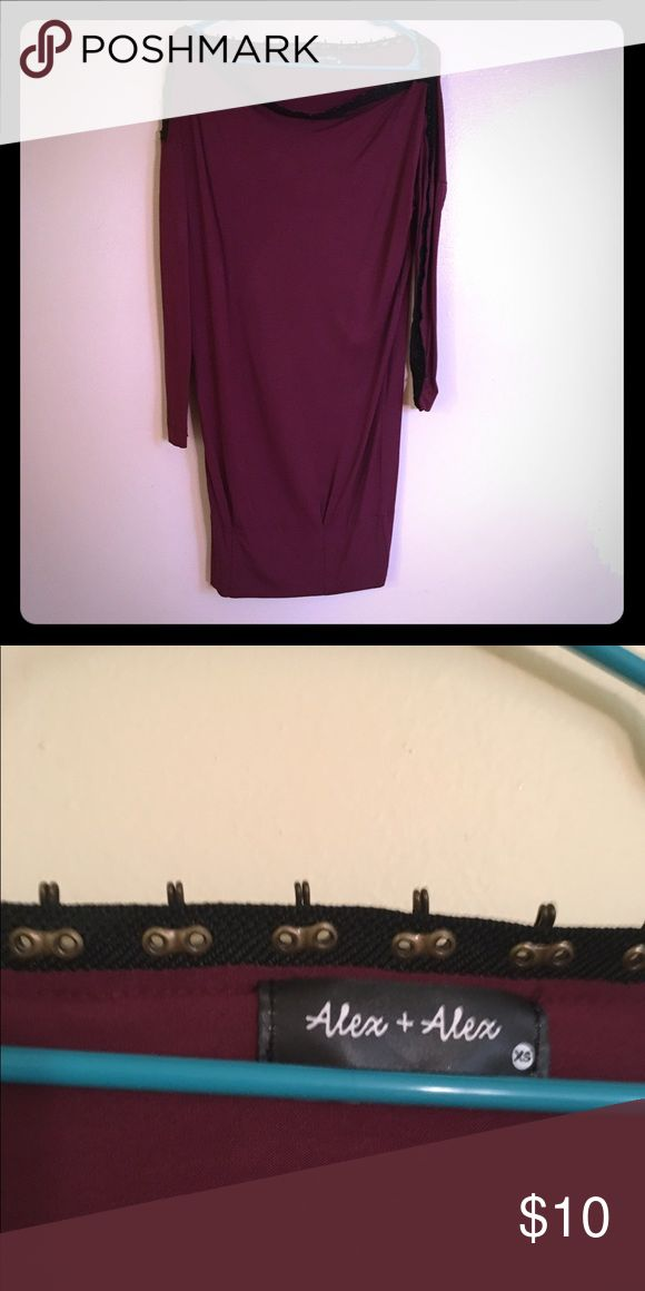 Boat neck made loosefitting dress Interesting piece acquired from a gilt warehouse sale never been worn is loose fitting and has boat neck with metal detail. plum color a very punk piece. size small but is much too big on me. Make an offer I am willing to let go for cheap Dresses Midi
