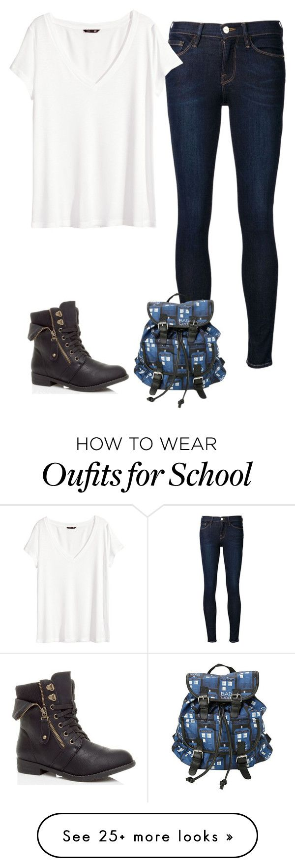 """school #4"" by penguin-alert on Polyvore featuring Frame Denim and H&M"