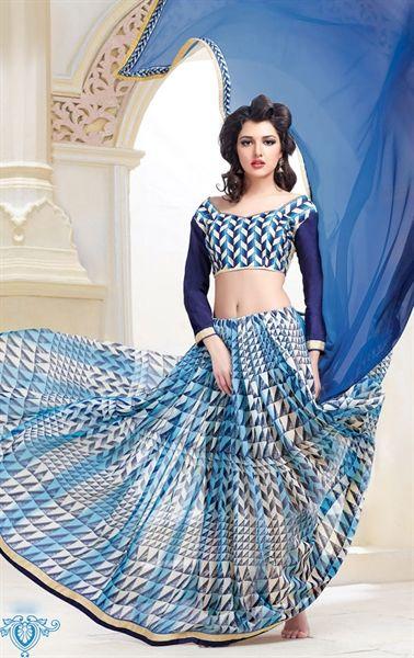 Exotic Blue Georgette Printed Saree