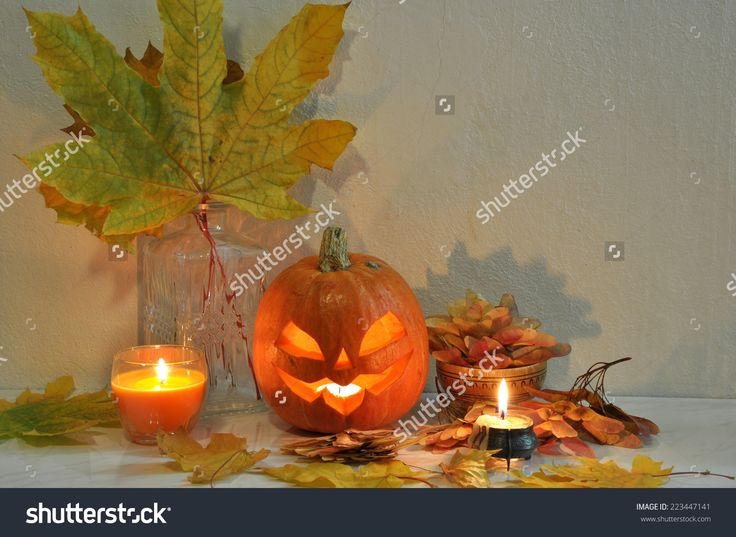 Halloween Still Life With Pumpkins, Candles And Decorative Lantern Stock Photo 223447141 : Shutterstock