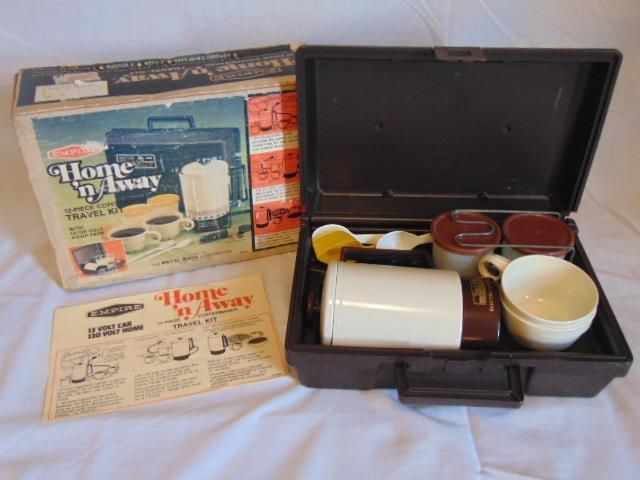 VINTAGE EMPIRE HOME N AWAY 12 PC 4 CUP COFFEE MAKER DUAL VOLT TRAVEL KIT IN ORIGINAL BOX #CoffeeMaker #VintageCoffeeMaker #Home #Kitchen #Dining #Travel #Camper #Camping #DormRoom #VintageKitchen #VintageKitchenAppliances #VintageAppliances #COFFEE #CoffeeLove
