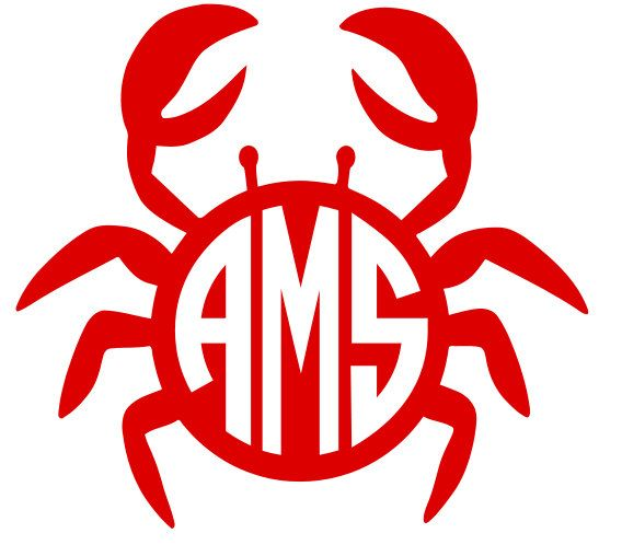 Crab With Monogram Decal Monogram Decal Monograms And Crabs