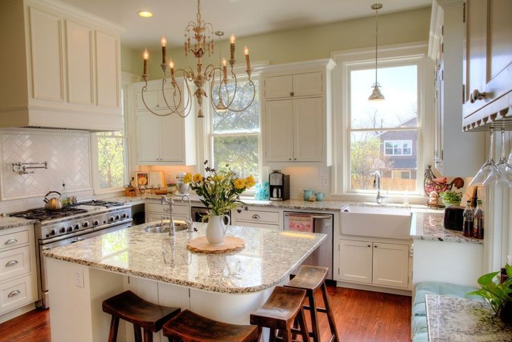 Country Kitchen with double oven range, Hardwood floors, Painnt 1, Paint 2, Paint 1, Subway Tile