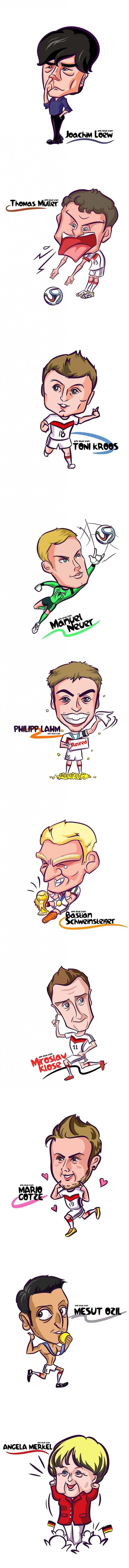 La selección alemana en caricatura, el triunfo en el mundial Brasil 2014