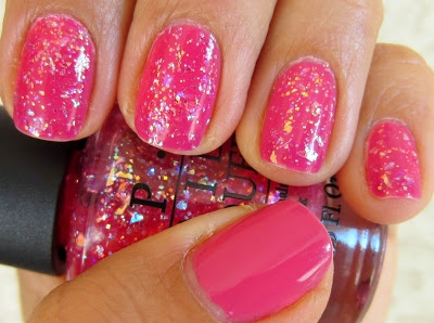February Recap: OPI Strawberry Margarita & I Lily Love You - a flaky glitter over a warm pink creme polish combo.